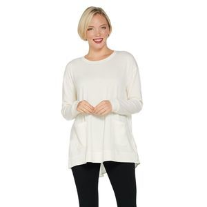 LOGO by Lori Goldstein Relaxed Top with Woven Back